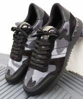 [Orijinal Kutu] Camo Mesh Nefes Kaya Koşucular Sneakers Kamuflaj Erkekler Spor Camo Çift Kaya Çiviler Açık Eğitmenler EU35-46