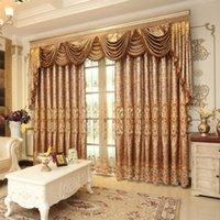 1PC Pelmet European Royal de luxe Valance Valance pour salon Fenêtre Rideau d'or pour chambre à coucher Tulle Jacquard Rideau T200323