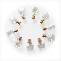 Mini Bouteilles en verre Mignon Collier Pendentifs Petit Diy liège cadeau de mariage Videz Jars 10 Fioles forme petite bouteille