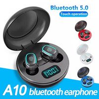 A10 TWS Bluetooth Earphones BT5.0 Wireless In-Ear Bass Sports Stereo HIFI Headphones with LED Digital Display Charger box In Retail Box