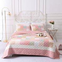Bettdecken Sets Chausub Baumwolle Bettdecke Korea Quilts Quilt Set 3 STÜCKE Handmade Patchwork Steppdecke Deckblatt SHADS King Size Coverlet1
