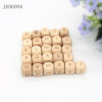 50PCS Letter 12MM Wood Teether Letter Beads Teething Toy DIY...