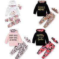 9 Stil Bebek Çocuk Giyim Setleri Kız Kız Çiçekler Rahat Hoodies Çocuklar Setleri Uzun Kollu Hoodies + Pantolon + Kafa