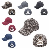 Mujer cola de caballo gorra de béisbol 6 estilos criss cruz lavado algodón bola gorra moda leopardo alto desordenado sombrero mar marítimo DDA675