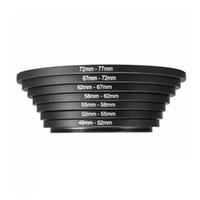 7 adet Metal Step Yukarı Yüzükler Lens Adaptörü Filtre Seti 49-52-55-58-62-67-72-77mm 49-77mm Alüminyum Yüzük Evrensel Lens Adapte