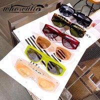 Fashion Retro Rectangle Sunglasses Femmes Hommes 2021 Marque Design Sun Lunettes Sunes Nude Green Léopard Cadre coloré S344