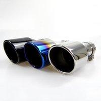 Coche Universal Tubería de escape Suffler Tip Azul / Negro / Plateado Color inclinado del extremo 304 Acero inoxidable 51 mm accesorios de autos de entrada1
