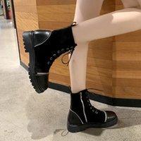 Sonbahar Kış Kısa Çizmeler Kadın Casual Düz Ayakkabı Fermuar Tembel Yürüyüş Ayak Bileği Lace Up Peluş Femmes Bottes