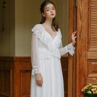 LisaCMVPNELn Retro Princess Style Style in cotone lavorato a maglia Donne Robe Set Chiffon Ice Seta Sexy Fashion Pigiamas1