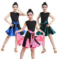 Çocuklar Kızlar için Elbiseler Latin Balo Salonu Dans Yarışması Kostümleri Kolsuz Katı Yay Uygulama Sahne Performans Elbise 110-160 cm