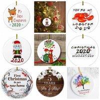17Style 2020 세라믹 크리스마스 장식품 3 인치 라운드 크리스마스 트리 펜던트 산타 마스크를 착용 크리스마스 장식 GGA3786