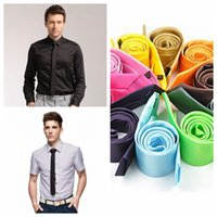 Cravatta a collo massello caldo Casual Skinny Men Poliestere Colorato 5cm * 145 cm Uomo classico Neck Neck Tie Skinny Wedding Party