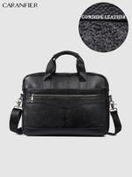 Briefcases CARANFIER Mens Genuine Leather Briefcase Laptop Messenger Shoulder Bags Male Casual Quality Crazy Horse Vintage Crossbody