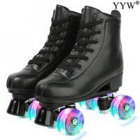 PU-Leder-Schwarz-Roller Skates Double Line 4 Räder PU Skating Schuhe Damen Herren Erwachsene Sliding Inline Skates Turnschuhe