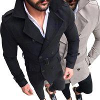 Men's Wool & Blends Men Winter Warm Windbreaker Trench Woolen Coat Retro Jacket Jackets Double Breasted Fashion Male Autumn Overcoat