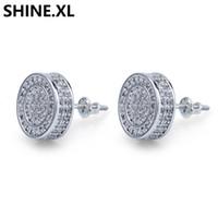 Sterling Silver ghiacciato fuori CZ diamante premio Cluster Zirconia rotonda posteriore della vite orecchini per gli uomini Hip Hop Jewelry ps1884