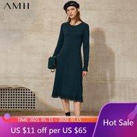 فساتين عادية AMII بساطتها ربيع الخريف المرأة اللباس السببية oneck يتأهل ربلة طول الشرابة مزاجه سترة 12040836