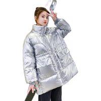 여성용 다운 파카 공 2021 겨울 파커 패딩 자켓 여성 방수 반짝이 사탕 색 코트 느슨한 Drawstring 허리 오버코트