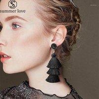 BOHO Kore Bildirimi Püskül Küpe Lüks Çok Katmanlı Polyester Dangle Küpe Kadınlar Için Moda Druzy Taş Saplama Jewelry1