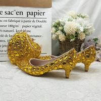 Обувь платье Baoyafang Golden Crystal Wedding и сумка Установите дамы партии мода с подходящими сумками насосы лодыжки насосы