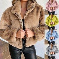 여성 테디 코트 여성 겨울 가짜 모피 코트 두꺼운 플러스 사이즈 솜털 주머니 플러시 자켓 숙녀 가을 오버 코트 겉옷