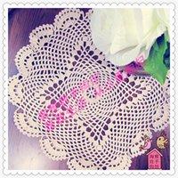 Tappetini tappetini all'ingrosso- 2021 Arrivo 35 cm rotondo in cotone naturale cotone crochet manipoli come decorazione per la tavola di nozze per la casa domestica1