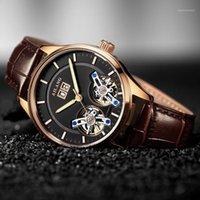 Bracelets AILANG Luxe Double Tourbillon Hommes Montre Fashion Business Bracelet Lumineux Horloge Male Horloge automatique Mécanique Relojes1