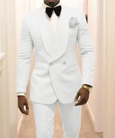 백인 남자 웨딩 턱시도 숄 옷깃 신랑 스위트 블레이저 2 피스 Dobby Prom 파티 디너 재킷 복장 맞춤형 (재킷 + 바지 + 활)