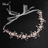 Miallo Mais Novo Rose Gold Flores Casamento Headpieces Handmade Cabelo Nupcial Acessórios Jóias Crown Headband Bride Tiaras1