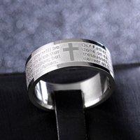 Anglais 2Factory Echch Hommes Mens Silver Sans Inox Prière Anneaux Cross Bijoux Lots Livraison Gratuite en acier