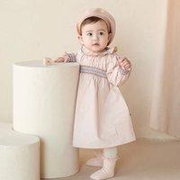 2PCS Baby Girl Smocked Dresses Infant Smocking Handmade Frocks Kids Boutiques Princess Clothing Childen Cotton Smock Dress + Hat Q1223