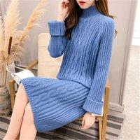 Kadın Giyim 2019 Yeni Arriva Kadınlar İlkbahar Sonbahar Kış Uzun Stil Balıkçı Yaka Örme Kazak Elbiseler Bayanlar Elbise PZ1174
