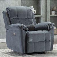 US Stock Velvet Navy Reclining Chair Electric Home Theatre Sittplatser för vuxna Snygg Vardagsrum Soffan W60624690