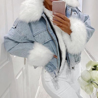 autumn winter women jacket coat warm faux fur short jean jac...