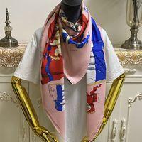 NOUVEAU Style Femme Square Square Foulard Echarpes De Bonne Qualité 100% Twill Matériau de soie Rose Couleur Pince Pit lettres Pattern Taille 130cm - 130cm