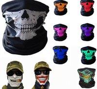 DHL оптом велосипедный шарф лыжный череп наполовину лица маски призрак шарф волшебный головной платок более теплый сноуборд колпачок на велосипеде Хэллоуин косплей AAD2412