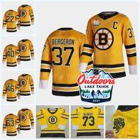 Boston Bruins 2021 Ao Ar Livre Domingo Lago Tahoe Retro Jersey Patrice Bergeron (C) David Pastrnak Ray Bourque Bravão Marchand Tuukka Rask