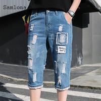 Jeans pour hommes Samlona Hommes Demin Short Summer 2021 Style européen et américain Mode masculin décontracté vrac déchiré denim demi pantalon
