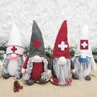 2020 Nova Decoração de Natal Enfermeira gnomo enfeites de pelúcia sueco boneca Santa com máscara facial enfrentam o presente de enfeite de boneca HH21-65