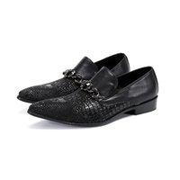 New Arrival Homens Preto Formal Sapatos Moda Jacaré Padrão Trending Sapatos de Couro para Homem Slip On Business Leisure Dress Zapatos SL-28