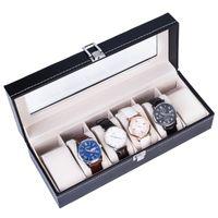 ABD Ücretsiz Kargo 6 Çekmeceli Mücevher Kutusu Saatler Kutusu PU İzle Vitrin Ekran Kutusu