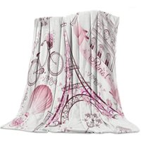 Fleece Throw Bed Blanket Lightweight Super Soft Accogliente Accogliente Pink Tower Street Lamp Bicycle Bicycle Air Balloon Balloon Coperta regalo per adulti bambini1