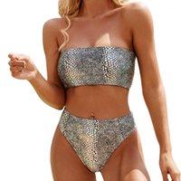 Padrão de prata colorido padrão biquíni mulheres sexy fora do ombro bandeau swimwear brasileiro banhos de banho sólido1
