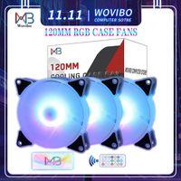 Wovibo 120 milímetros Caso Fan RGB Fãs Adajust aRGB Mute refrigerador de PC 6 pinos de arrefecimento Ventilador Motherboard Sincronizar