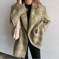 2021 Sonbahar Vintage Kadın Ekose Blazer Chic Kruvaze Kadın Zarif Uzun Kollu Suit Ceketler Rahat Bayanlar Blazer