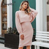 Simplee элегантный 2 шт. Женщины вязаное платье сплошной корпус свитер платье осень зима дамы пуловер рабочей одежды свитер костюм 20103