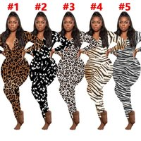 Frauen Jumpsuits Strampler Casual Leopard Print Lange Ärmel V-Ausschnitt Designer Nachtwäsche Spielanzug Bodysuit Damen Pyjama Onesies 5 Farben E122812