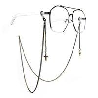 Colar de corda colar óculos espetáculos Corda Cruz Metal Correntes Pingente Óculos