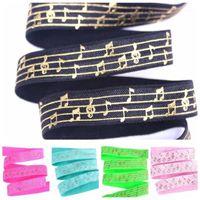 "Haaraccessoires 5/8 ""Goldfolie Music Score Musical Notation Foe Elastic Fold Over Welcome Custom Printd1"