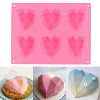 Stati Uniti Archivio Fotografico Diamante Love Stampi in silicone a forma di cuore per torte di spugna Mousse Mousse Dessert Dessert Bakeware Bakeware Pasticceria Stampo Handmade Regalo